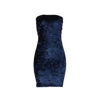 Elegant Strapless Dress Women Velvet Sleeveless Bodycon Sheath Dresses For Women Winter Autumn Evening Party Mini Dress #1215