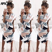Aproms Sexy Multi Colored V Neck Shirt Dress Women 2018 Boho Short Sleeve Summer Midi Dress Casual Streetwear Sundress Vestidos