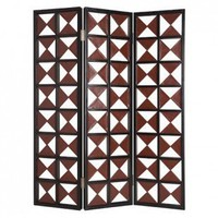 Screen Gems Navarro Screen with Brown and White Diamond Pattern - SG-74 - Room Dividers - Decor