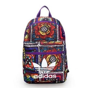 One-nice™ ADIDAS Middle school student leisure printing college wind student travel backpack junior high - capacity double shoul