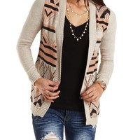 Open Front Geo Cardigan Sweater by Charlotte Russe - Ivory Combo
