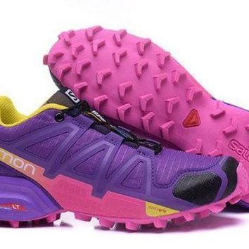 ICIKL8A Jacklish Salomon Women's Speed Cross 4 Trail Running Shoe Purple US5-9.5
