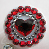 Red Heart Retractable ID Badge Reel Elegant ALL Crystal using Swarovski Elements with Charm