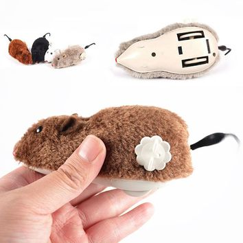 Sale Creative Funny Random Color Clockwork Spring Power Plush Mouse Cat Dog Playing Toy Mechanical Motion Rat Pet Accessories