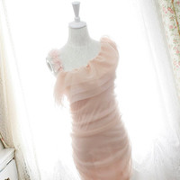 one shoulder dress chiffon floral petals ruffles cape bodycon tulle pale pink dreamy romantic Pastel