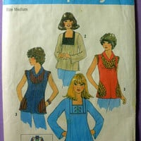 "Retro 70's Pullover Tops with Embroidery Simplicity 7673 Misses' Size 12, 14 Bust 34"" - 36"" Vintage 1970's Sewing Pattern"