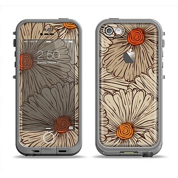 The Tan & Orange Tipped Flowers Pattern Apple iPhone 5c LifeProof Fre Case Skin Set