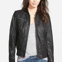 Women's Levi's Quilted Faux Leather Bomber Jacket with Knit Hood,