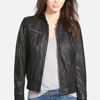 Shop Hooded Leather Bomber Jacket on Wanelo