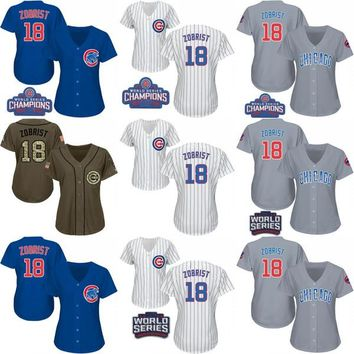2016 World Series Champions Patch Womens Chicago Cubs #18 Ben Zobrist White Blue Grey Army Green Baseball Jerseys Ladies Shirts Size S-XXL