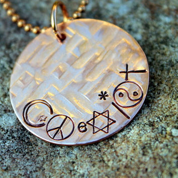 COEXIST pendant - hand stamped copper