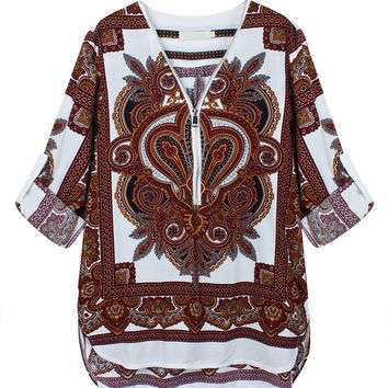 Women Long Sleeve V Neck Totem Printed Casaul Zipper Blouse