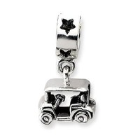 Reflection Beads Sterling Silver Golf Cart Dangle Bead (19 x 10 mm)