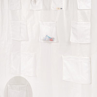 """Royal Bath Heavy PEVA Non-Toxic Shower Curtain Liner with 9 Mesh Pockets for Organization (70"""" x 72"""") -Frosty Clear"""