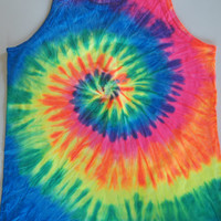 Neon Rainbow Tie dye Tank top festival clothing