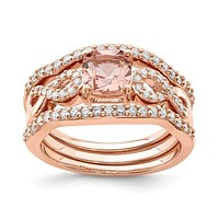 Sterling Silver Rose Plated Pink Crystal And CZ 3 Piece Ring Set