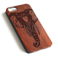 Elephant Art Design Natural wood precise laser engraved iPhone case WA093