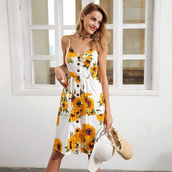 Simplee Strap v neck summer dress women Sunflower print backless casual dress Smocking high waist midi dress female