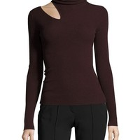 A.L.C. Kara Turtleneck Ribbed Sweater w/ Slit Detail