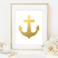 NAUTICAL ANCHOR Faux Gold Foil Art Print