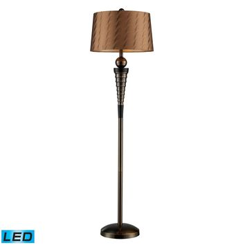 Laurie LED Floor Lamp In Dunbrook Finish With Bronze Tone-on-Tone Shade Dunbrook Bronze,Dark Wood