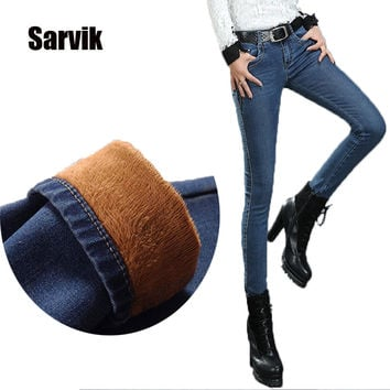 2016 Winter Warm thick velvet skinny jeans Pants for woman Plus size 34 33 Blue demin trousers Skinny ladies pant Femme Pantalon