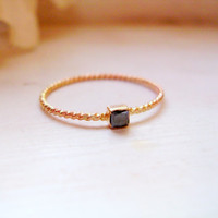 Tiny Princess Cut Black Diamond Solitaire Ring 14k Gold Twisted Rope Ring Dainty Ring Stacking Ring - made to order in your finger size
