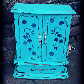 Shabby chic jewelry box, Distressed jewelry box, rustic jewelry box, aqua jewelry box, music box, girls gift idea, jewelry storage, jewelry
