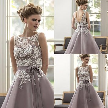 Best-Selling New Purple Organza With Lace Bridesmaid Dresses Tea Length Maid Of Honor Custom Size Sashes A-Line Party Prom Gown