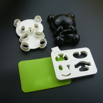 4 in 1 Baby Panda Mold Rice Mold Onigiri Shaper and Dry Roasted Seaweed Cutter Set Kitchen Mold Tools