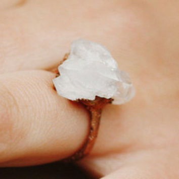 Unique Engagement Ring, Promise Ring for Her: stone promise ring alternative quartz wedding rings, raw quartz ring, quartz crystal ring boho