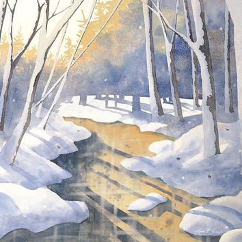 Snowy Winter Landscape- Winter's Light Watercolor Painting- 12 x 16 1/2 Archival Art Print by Laura D. Poss