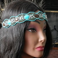 SALE: Bohemian Floral Beaded headband boho beaded Aqua head piece Turquoise and brown seed beaded elastic headband non slip stone Beaded