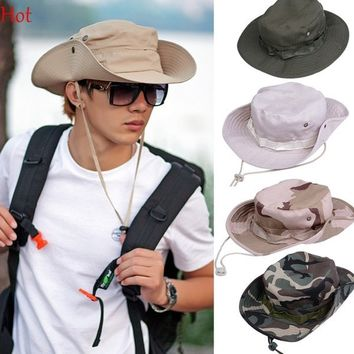 Military Camouflage Bucket Hats Camo Fisherman Hats Sun Wide