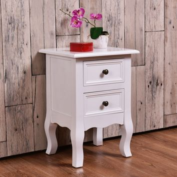 White Curved Legs Accent Side End Table/Nightstand with Drawers