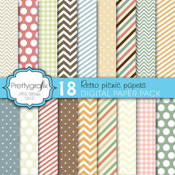 18 bright colors digital paper pack, commercial use, scrapbook papers, instant download, polka dots, chevron, gingham, stripes - PGPSPK618