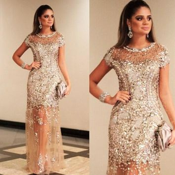 Luxury Sparkly Sequins Short Cap Sleeve Sparkly Prom Dresses 2016 Sexy See Through Cheap Champagne Color Formal Party Dress Gala