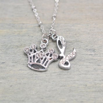 princess necklace, crown charm jewelry, personalized jewelry, christmas gift, bridesmaid gift, silver crown pendant, new born gift, birthday