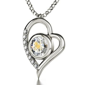 Leo Sign, 14k White Gold Diamonds Necklace, Swarovski
