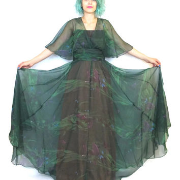 70s Sheer Forest Nymph Evening Gown Green Cape Watercolor Floral Maxi Dress Disco Goddess Theatre Artsy Boho Festival Dress (S/M)