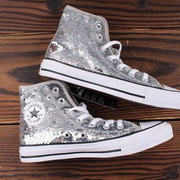 HCXX Converse all star sequin high-top sequined silver sneakers Sliver