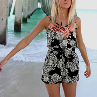 Coastal Living Black Floral Lace & Crochet Romper