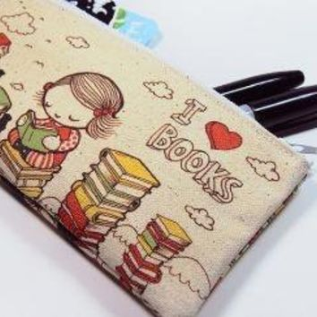 I Love Books Zipper Pouch