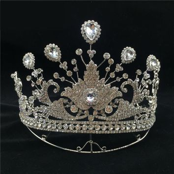 New Queen Silver Bridal Tiaras Crowns Crystal Rhinestone Headdress Pageant Bridal Wedding Cosplay