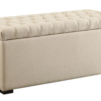 Office Star Linen Sahara Tufted Storage Bench