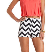 CHEVRON PRINT HIGH-WAISTED SHORTS