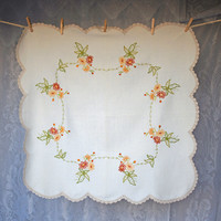 Linen Embroidered Floral Tablecloth Supper Cloth with Crocheted Edge Autumn/Falls Colours Cream Ivory Small Cloth Scalloped Edge Orange