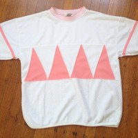 Vintage Bocoo Short Sleeve Geo Tribal Top Pink and White Girly Chic Shabby Chic Summer Spring Top size Large