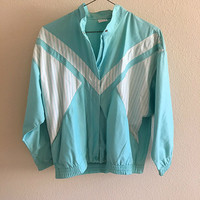 Blue Striped Windbreaker Jacket Vintage Oversized L