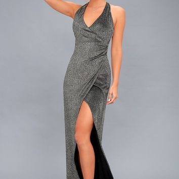 Discoball Diva Black and Silver Wrap Maxi Dress
